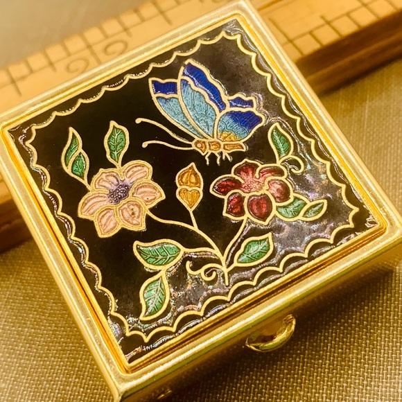Vintage NOS pill box black enamel flower butterfly